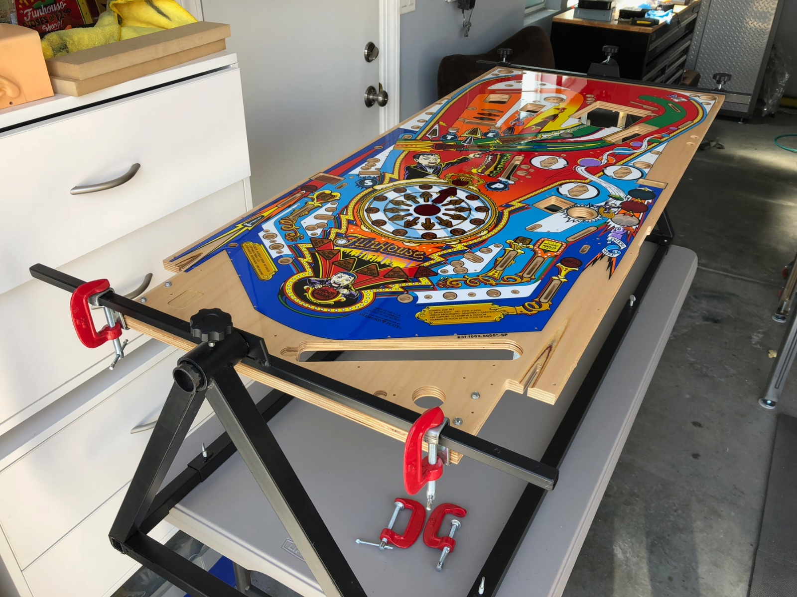 Funhouse playfield swapped alpha bravo pinball then both playfields get rotated to the backside and the transfer of parts continues after the t nuts and pop screws i moved on to wiring harness hangers greentooth Choice Image